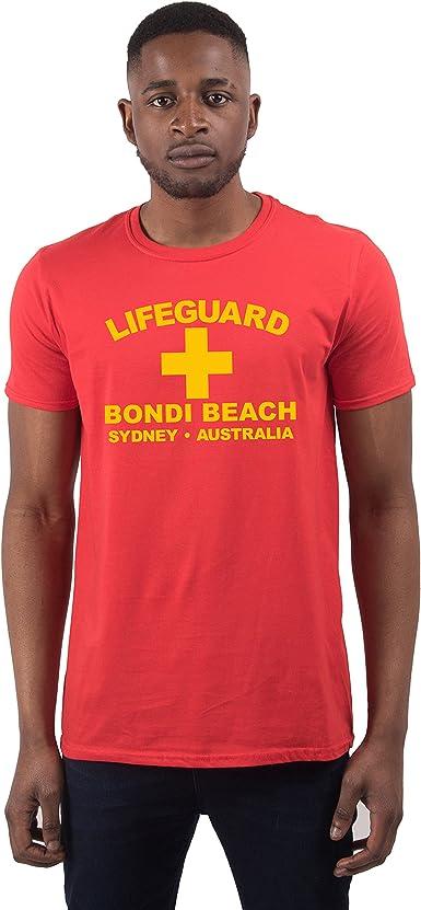 Men S Lifeguard Bondi Beach Sydney Australia Surfer Beach Fancy Dress T Shirt Amazon Co Uk Clothing
