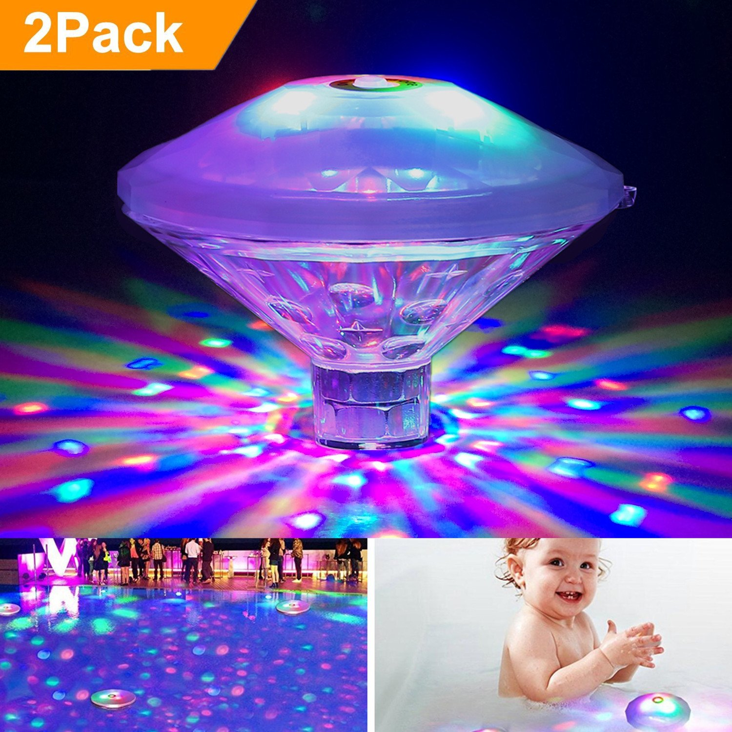 FTSTC Waterproof Swimming Baby Pool Lights - RGB, 7 Modes, Battery Operated Floating Pool Light Bulb for Pool, Pond, Hot Tub Or Party Decorations (2PACK)