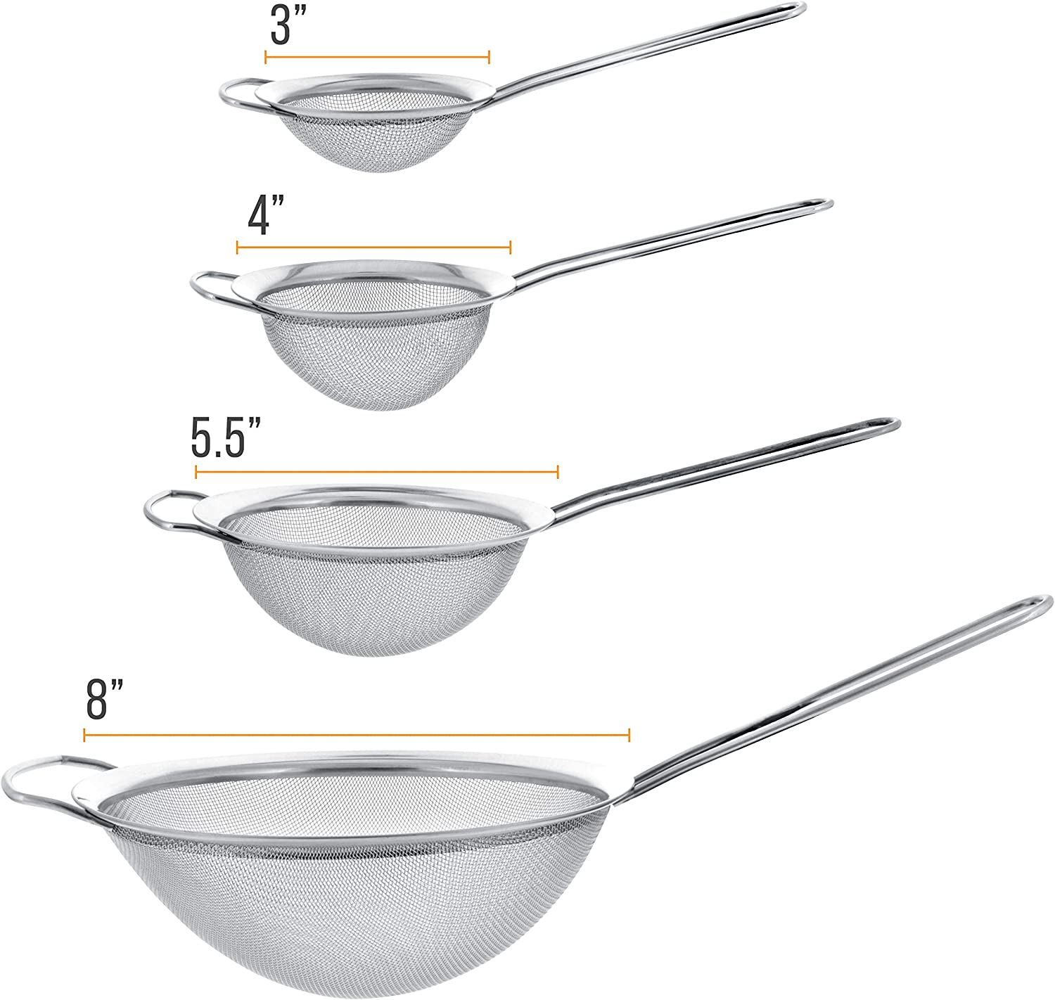 5.5 and 8 Sizes 4 Kitchen Supply Set of 3 Premium Quality-Double Mesh Extra Fine Stainless Steel Strainers with Comfortable Wooden Handles U.S