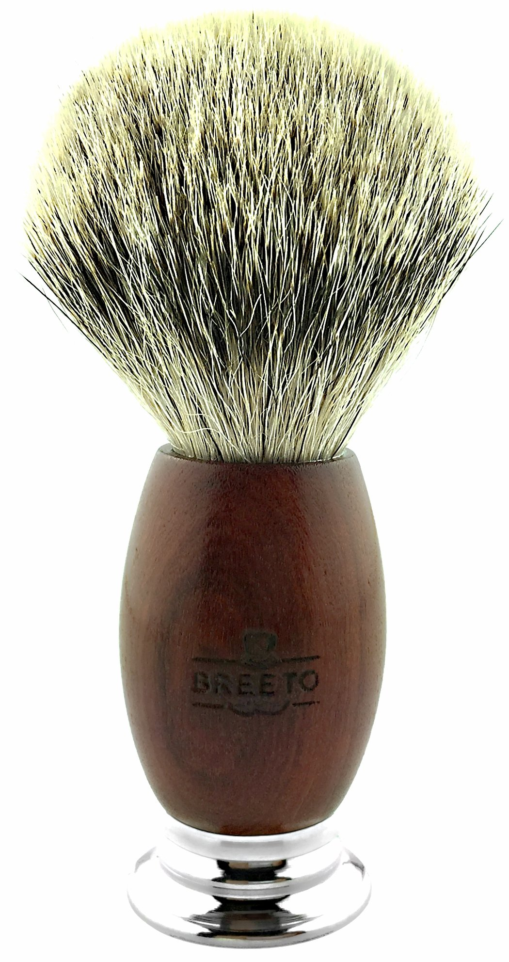 Breeto 100% Silvertip Badger Shaving Brush with Handcrafted Algum Handle