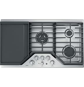 GE Cafe 36 Inch Gas Cooktop 5 Sealed Burners with Tri-Ring, Simmer, Integrated Griddle, Continuous Grates, LED Backlit Knobs, Stainless Steel