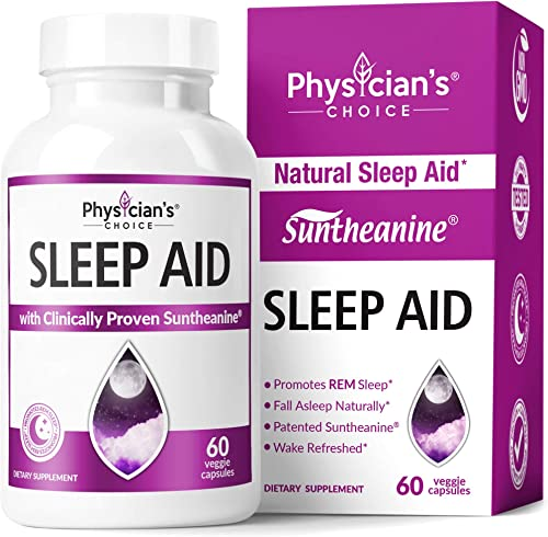 Sleep Aid with Valerian Root, Patented Suntheanine, 100 Natural, Chamomile, Suntheanine P5P Wake Up Feeling Rested, Sleeping Pills for Adults Extra Strength