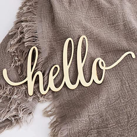 30,5 x 12,7 x 0,4 cm BESPORTBLE 1 pieza de madera Hello Letters Sign decoraci/ón de pared de madera sin terminar Hello Sign decoraci/ón de arte de la pared para la tienda del hogar