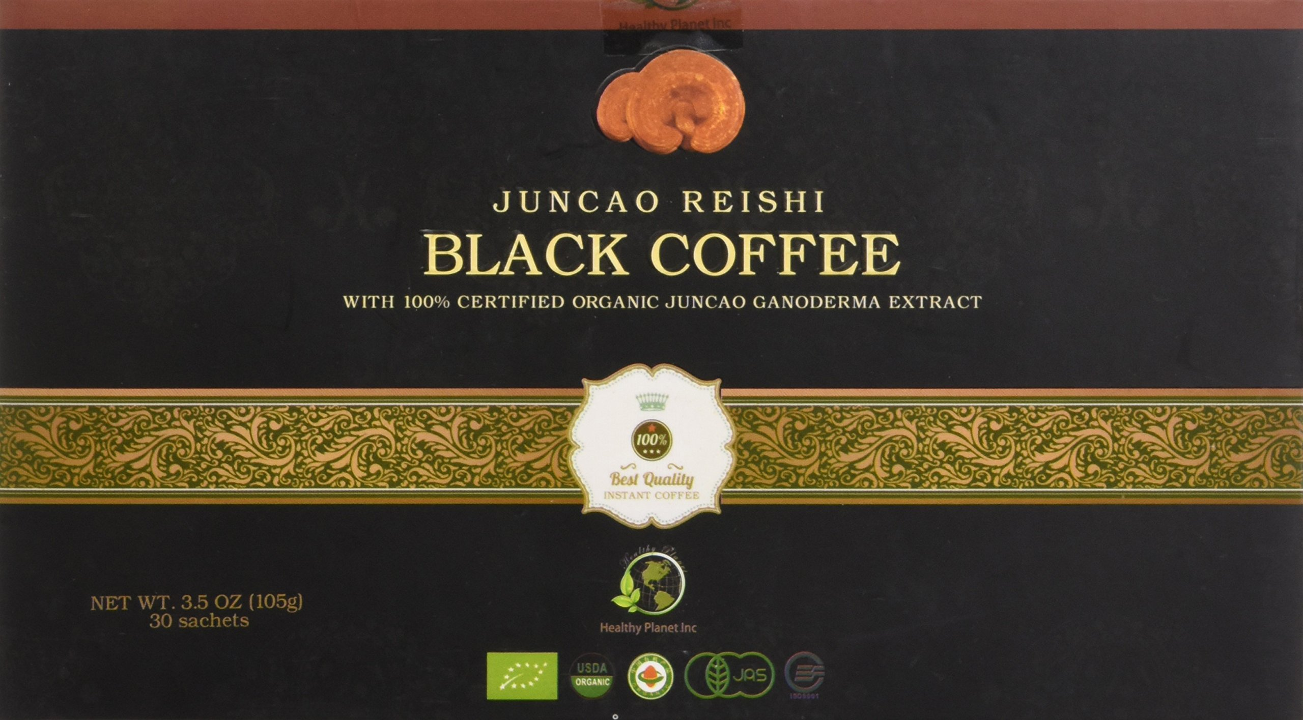 Juncao Reishi Black Coffee with Certified Ganoderma 30 Sachets per Box