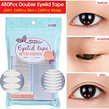 480PCS Invisible Single Side Fiber Double Eyelid Tape Stickers Perfect for Hooded, Droopy, Uneven