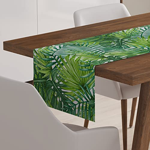 Palm Leaf Tropical Table Runner Cotton Dining Linen Decor Gray White  Decoration Topper 72 Inch U0026
