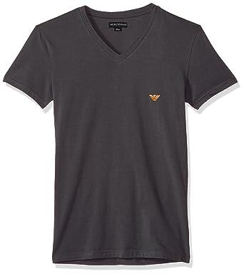 Emporio Armani T-Shirt Herren V-Ausschnitt Shirt Kurzarm mit Logo - Schwarz:  Amazon.de: Bekleidung