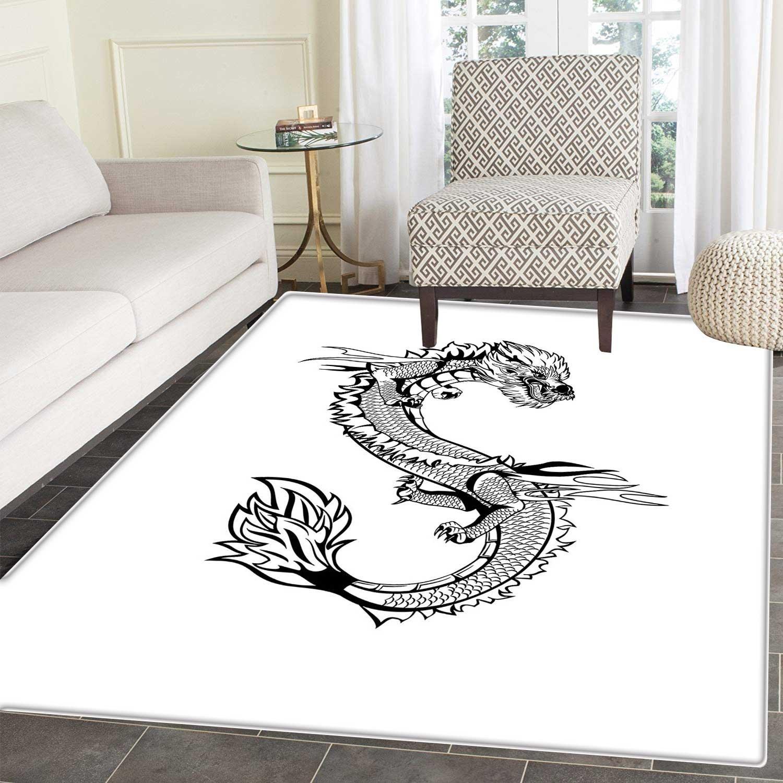 Japanese Dragon Rug Kid Carpet Ancient Far Eastern Culture Esoteric Magical Monster Symbolic Thai Style Home Decor Foor Carpe 3'x4' Black White