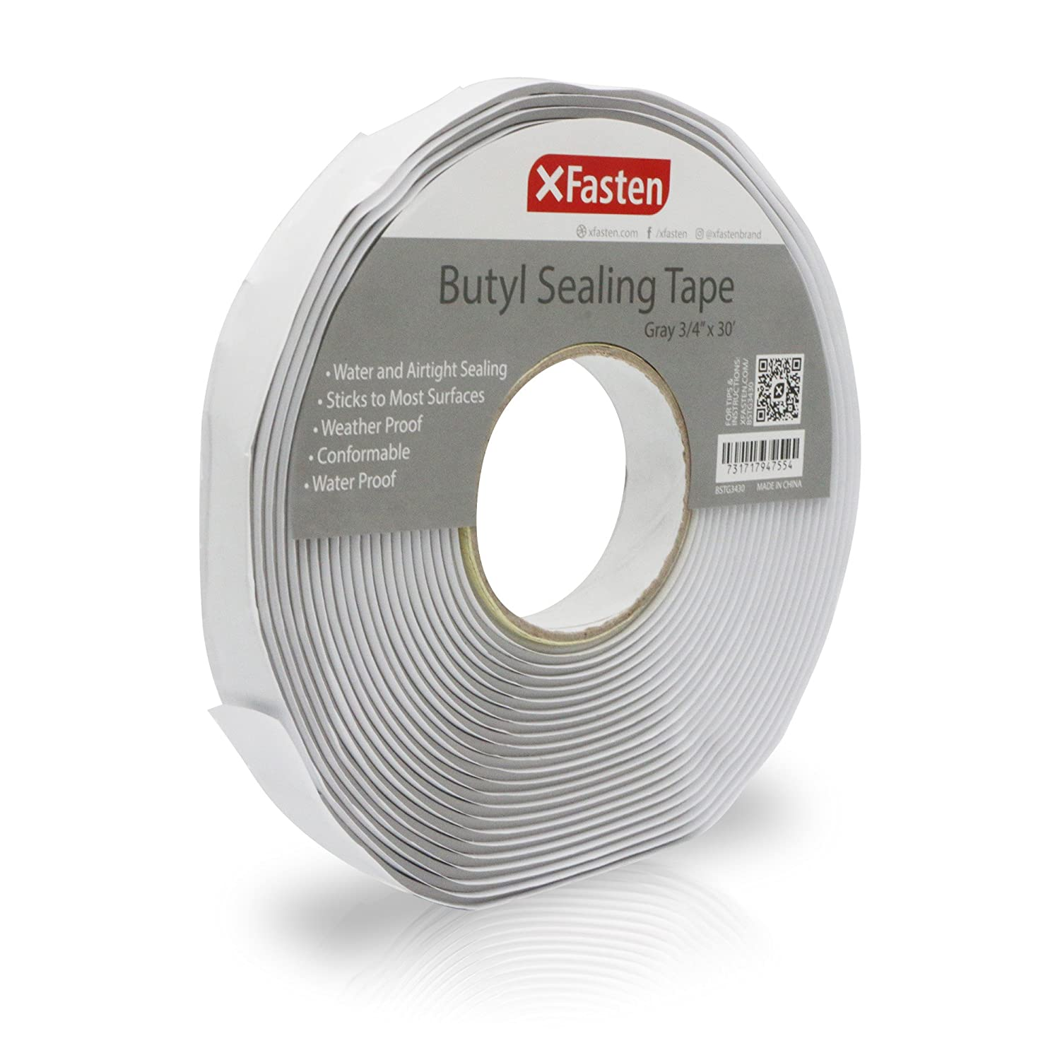 XFasten Butyl Putty Tape, Gray, 1/8-Inch x 3/4-Inch x 30-Foot, Heavy Duty and Leak Proof Rubber Putty Tape for RV Repair, Window, Boat Sealing, Glass and EDPM Rubber Roof Patching