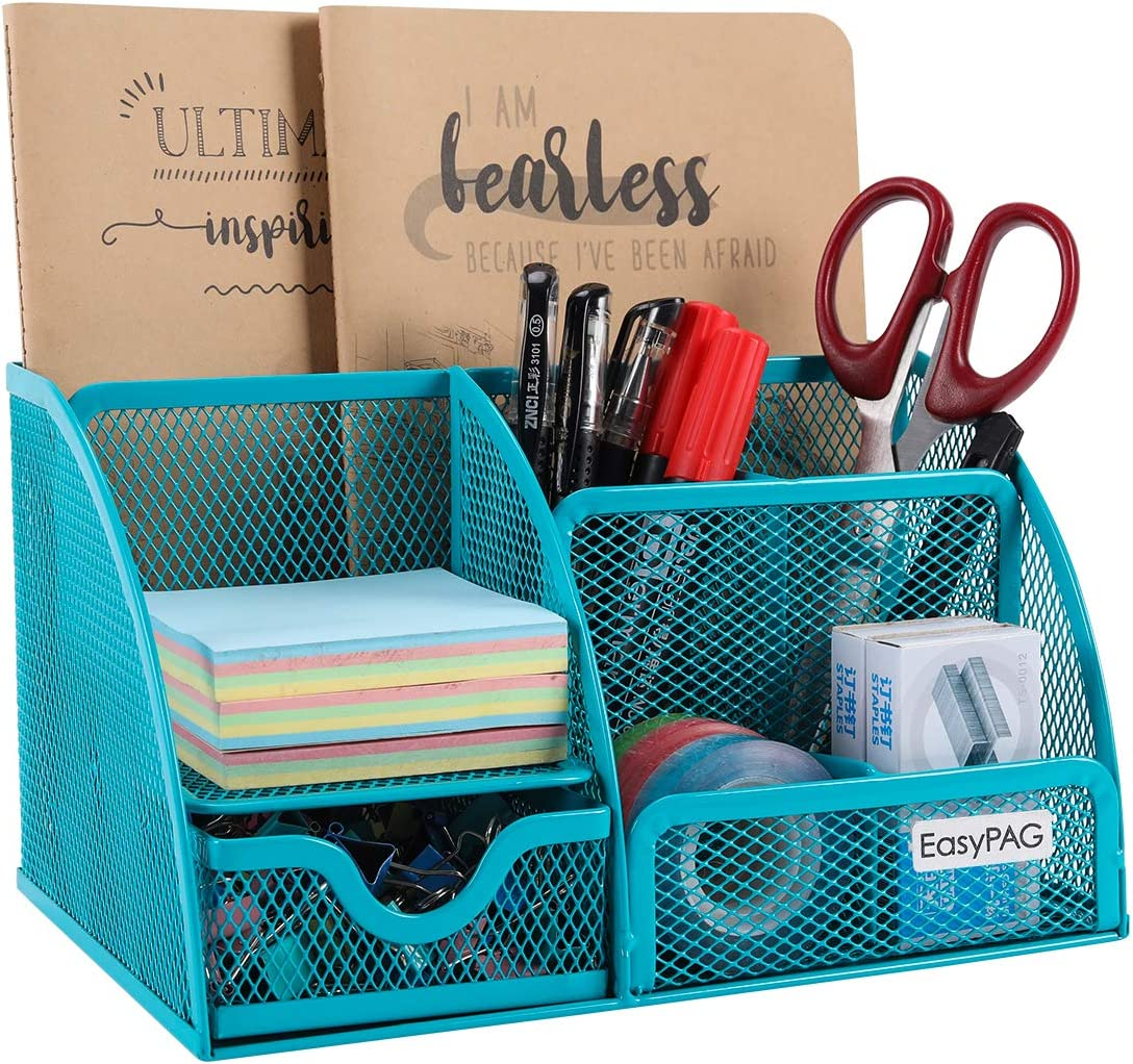 EasyPAG Desk Organizer 6 Component Mesh Office Accessories Cady with Drawer, Blue