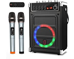 JYX Karaoke Machine with Two Wireless Microphones, Bass/Treble Adjustment and LED Light, Support TWS, AUX in, FM Radio, REC,