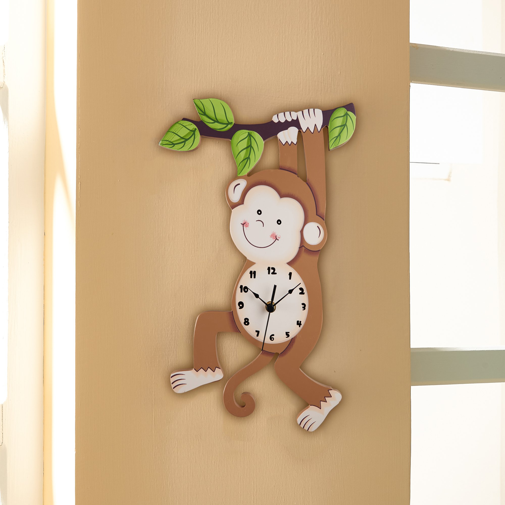 Fantasy Fields Sunny Safari Kids Wall Clock, Brown/Monkey by Fantasy Fields (Image #2)