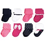 Luvable Friends Baby Basic Socks, Dressy Black And