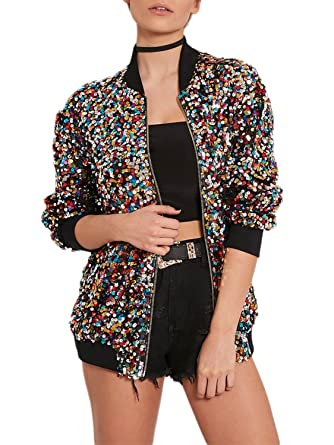 c9ebb00bf5b JEERISE Women s Casual Colorful Sequin Fitted Long Sleeve Zipper Blazer  Rainbow Sequins Bomber Jacket at Amazon Women s Clothing store
