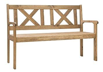 Bomi® Gartenbank 2 Sitzer | Holzbank Kirschbaum Wetterfest 125 Cm Garten  Sitzbank Mit Lehne |