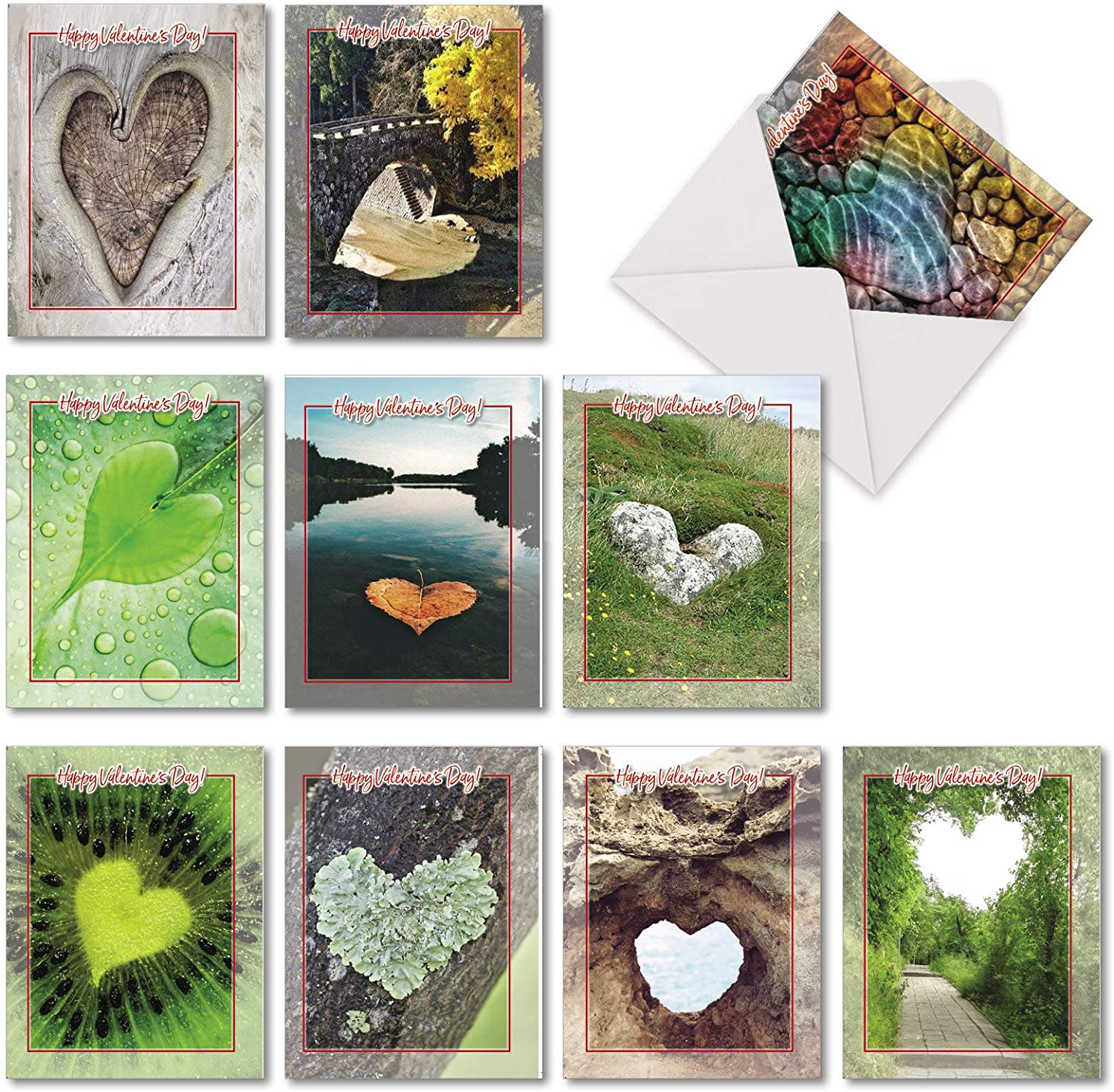 The Best Card Company, Heartscapes - 10 Landscape Heart Valentine's Day Cards with Envelopes (4 x 5.12 Inch) AM6838VDB-B1x10