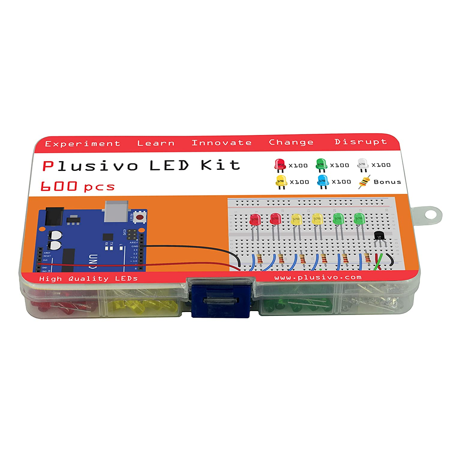 Yellow - Red 600 pcs Green 5mm Diffused LED Diode Assortment Kit Pack of Assorted Color LEDs and Resistors Blue and White Light Emiting Diode Indicator Lights from Plusivo