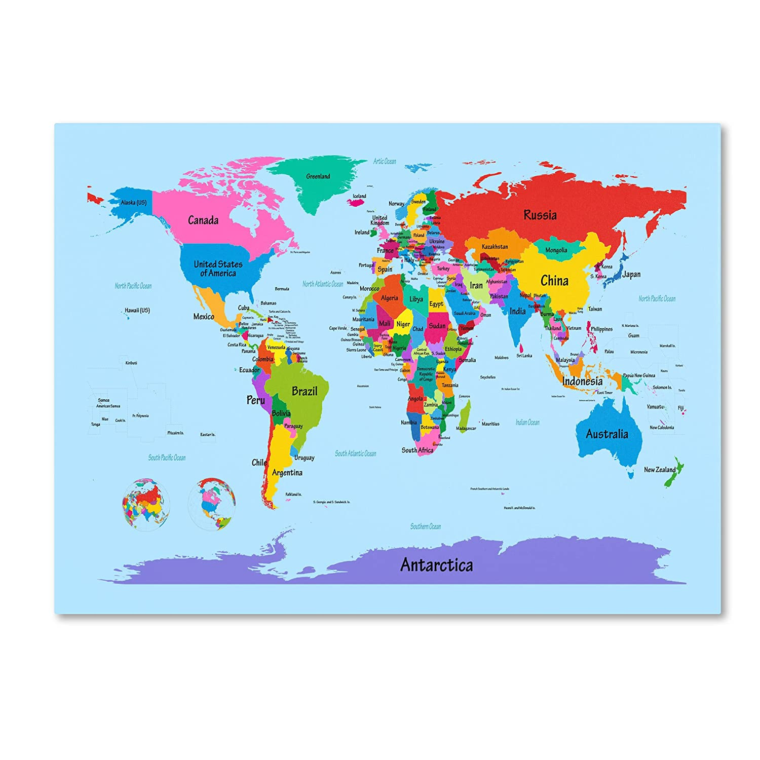 Amazoncom Trademark Fine Art Childrens World Map By Michael - Map of us printable for kids