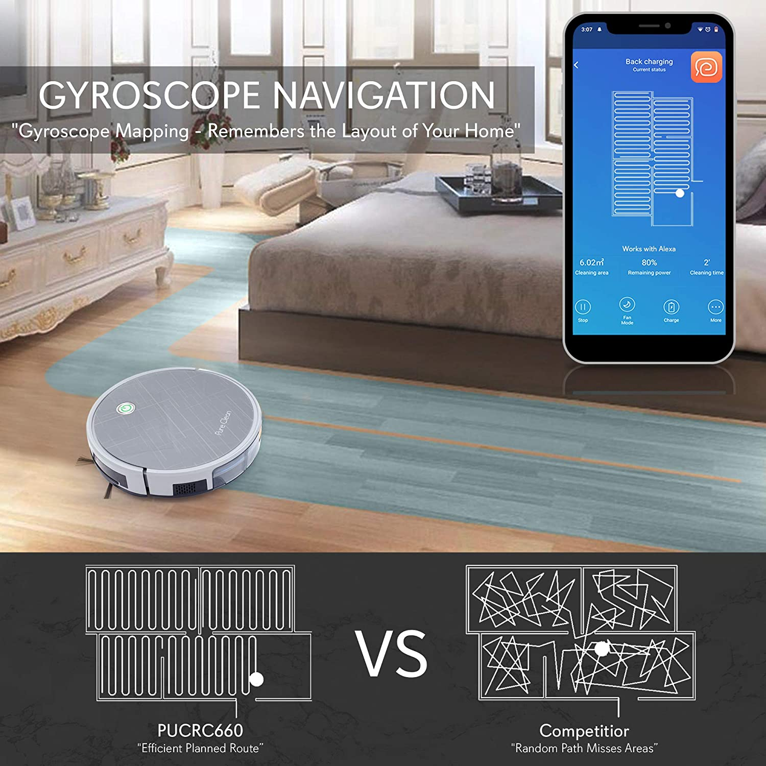 PUCRC660 PureClean Smart Robot Vacuum Auto Charge Dock 3 Step HEPA Filter Cleaner Gyroscope Multiroom Navigation Mobile App Control and Alexa Compatible Cleans Hardwood and Carpet Floor