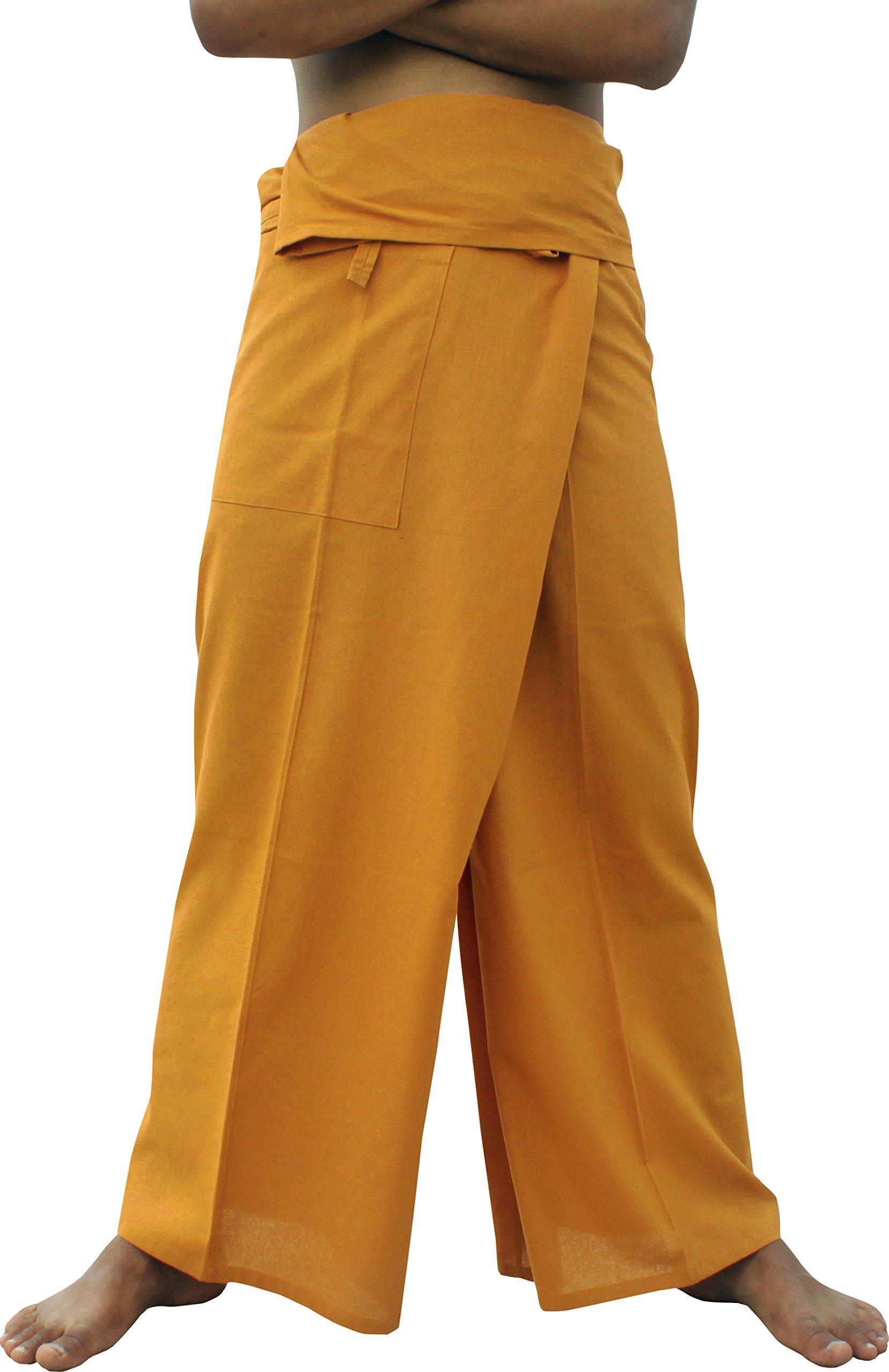 RaanPahMuang Brand Light Summer Cotton Thai Plus Fisherman Wrap Pants, XX-Large, Copper Brown by RaanPahMuang