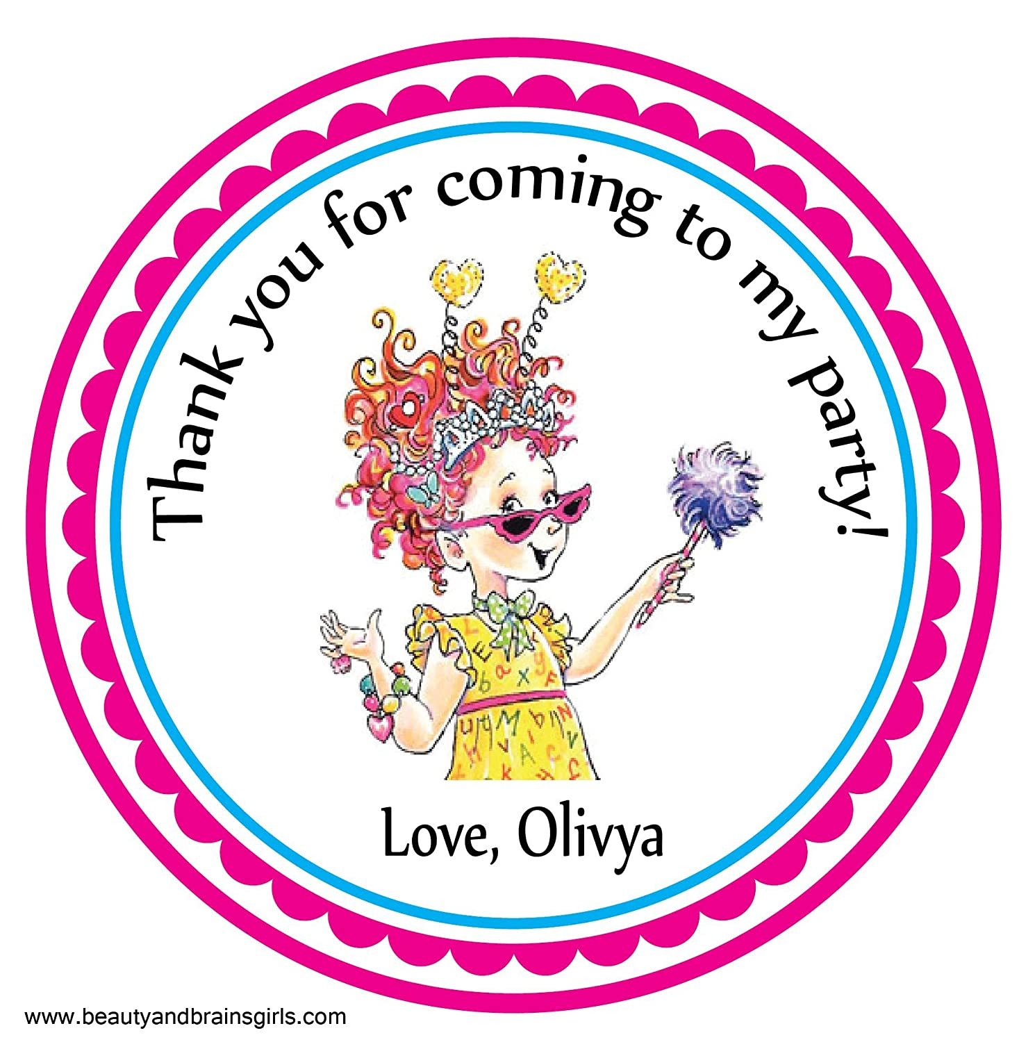 Amazon com fancy nancy custom personalized stickers birthday party favor treat tag toppers 24 stickers popular size 2 5 inches peel and stick backing