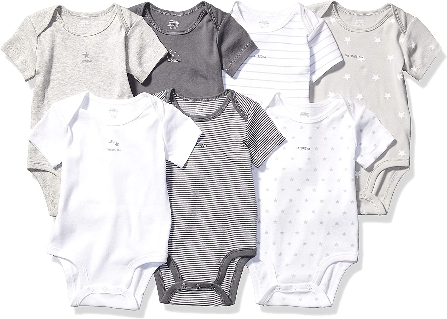 Essentials Unisex Baby 7-Pack Short-Sleeve Bodysuits