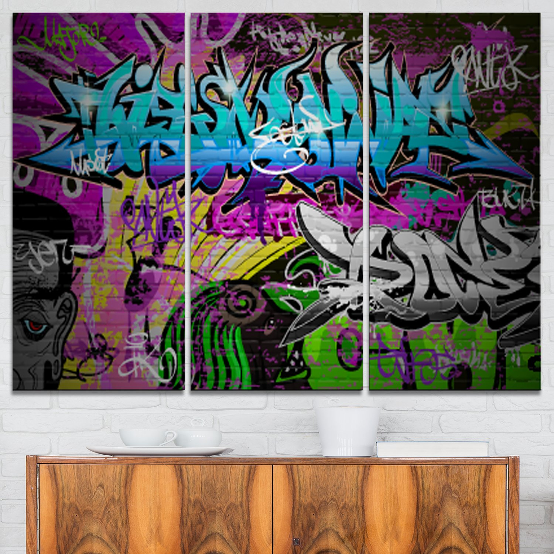 40x20 Blue PT6931-40-20 Designart Graffiti Wall Urban Abstract Street Art Canvas Print-40x20