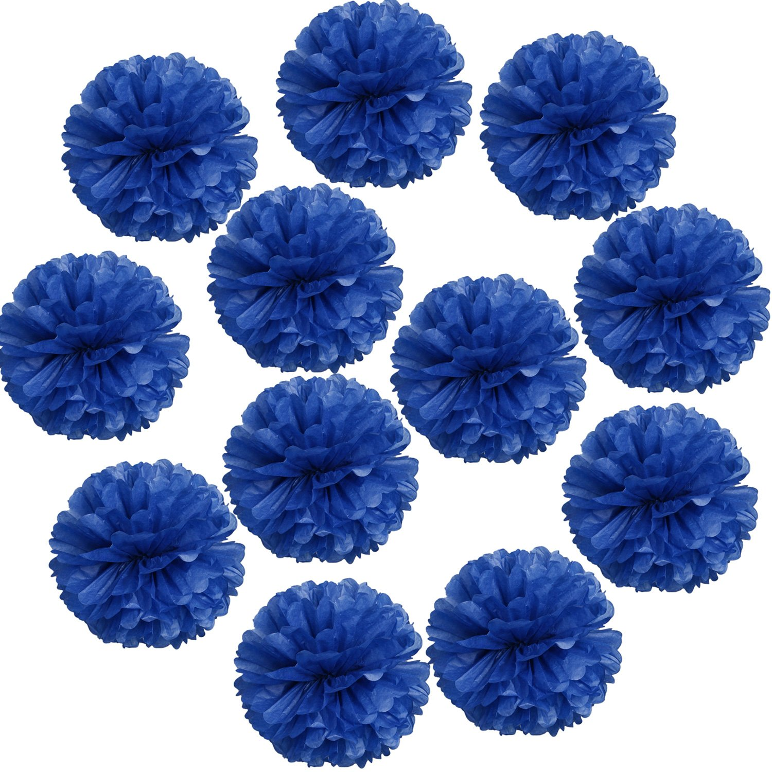Landisun Wedding Birthday Party Room Decoration Tissue Paper Flower Poms(10'' Inches (pack of 12), Royal Blue)