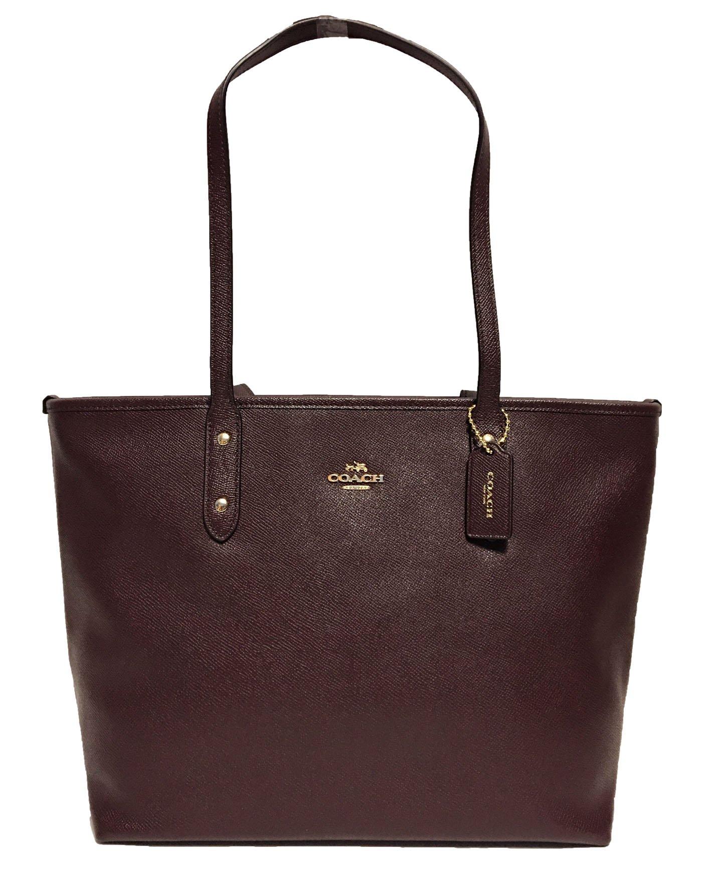 Coach Cross Grain Leather City Zip Tote Bag Purse (Oxblood)
