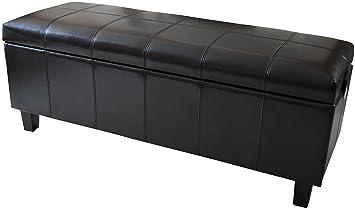Dark Brown Real Genuine Leather Ottoman Blanket Bedding Box