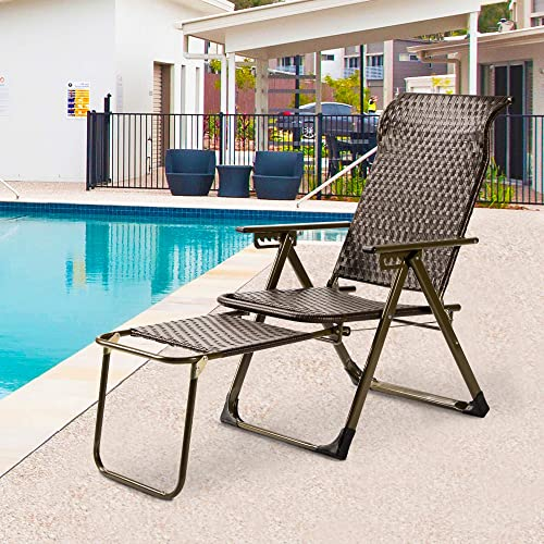 Outmax Outdoor Chaise Lounge Wicker Rattan Patio Lounge Chair Recliner Adjustable Folding Back Footrest Durable Easy Carry Poolside Garden Yard Balcony Summer Brown 1 Pack