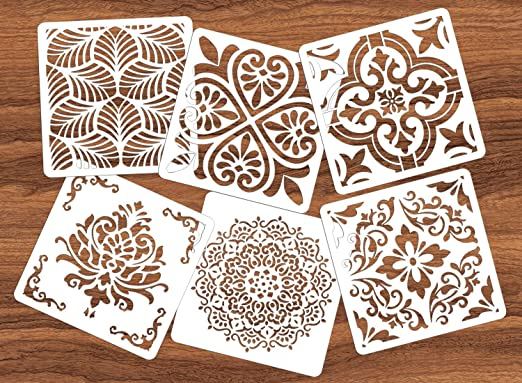 Reusable Mandala Floor Stencil Set of 6 (6 x 6 inch) Painting Stencil, Laser Cut Painting Template Floor Wall Tile Fabric Wood Stencils DIY Decor (White-AA(6 Pack))