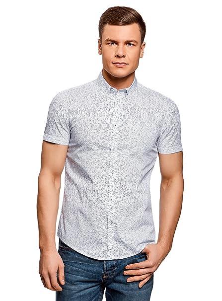 oodji Ultra Hombre Camiseta de Algodón con Bolsillo en el Pecho 19hQOwIpcS