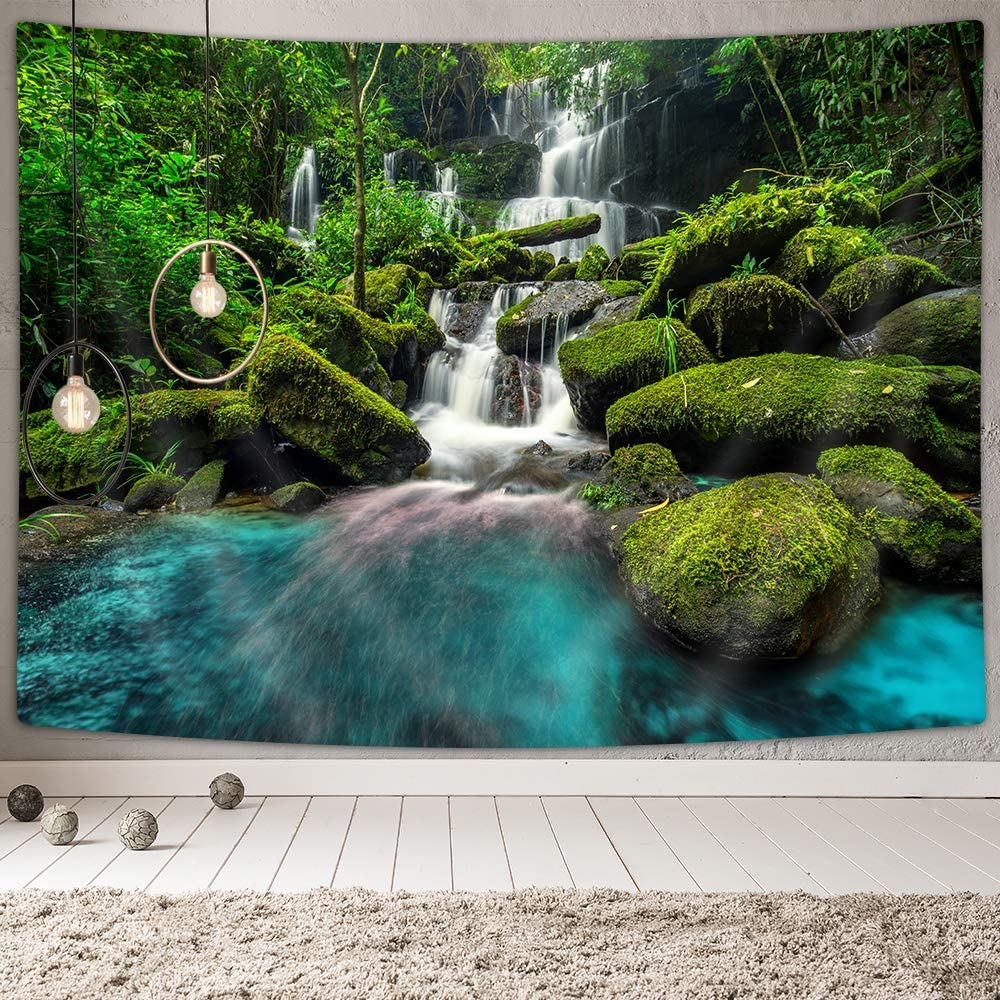 """Forest Waterfall Tapestry, Green Trees Waterfall Flowing Stream Mossy Rocks in Jungle Scenery Wall Tapestry, Tapestry Wall Hanging for Bedroom Living Room Dorm TV Background Blanket (71""""X60"""")"""