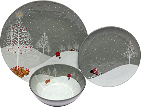 Melange 12 Piece 100 Melamine Dinnerware Set Santa Comes Home Collection Shatter Proof And Chip Resistant Melamine Plates And Bowls Dinner Plate Salad Plate Soup Bowl 4 Each Amazon Ca Home Kitchen