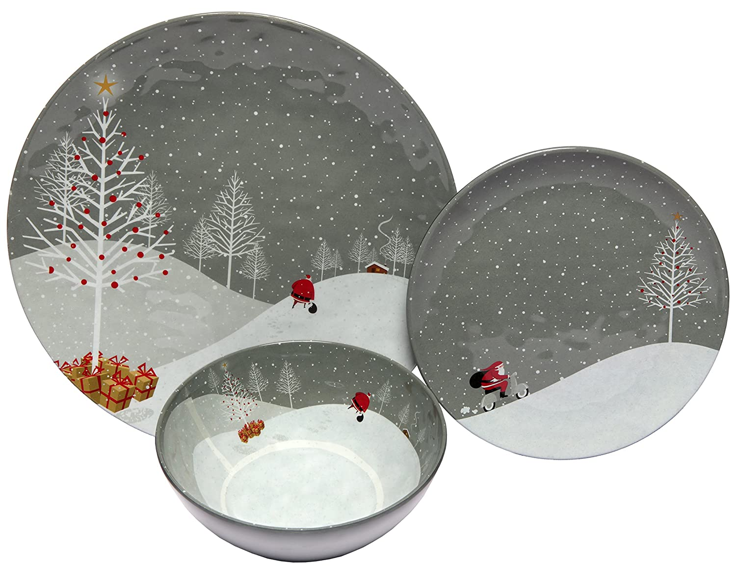 Melange 36-Piece 100% Melamine Dinnerware Set (Santa Comes Home Collection) | Shatter-Proof and Chip-Resistant Melamine Plates and Bowls | Dinner Plate, Salad Plate & Soup Bowl (12 Each) Ruby Compass Melamine 612409793119