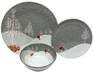 Melange 12-Piece 100% Melamine Dinnerware Set for Shatter-Proof and Chip-Resistant Melamine Dinner Plate, Salad Plate & Soup Bowl (4 Each) (Santa Comes Home Collection)