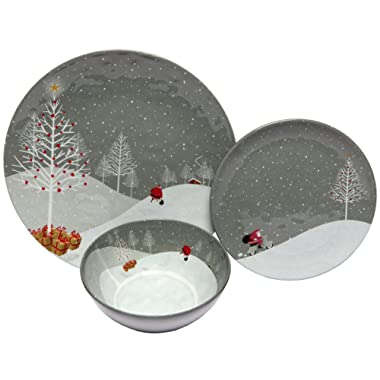 Melange 12-Piece 100% Melamine Dinnerware Set (Santa Comes Home Collection ) | Shatter-Proof and Chip-Resistant Melamine Plates and Bowls | Dinner Plate, Salad Plate & Soup Bowl (4 Each)