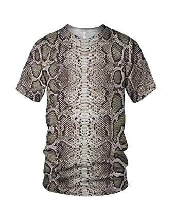 3008a141b Zaza Men's All Over Print Snake Skin Related Fashion T Shirt Small  Multicoloured