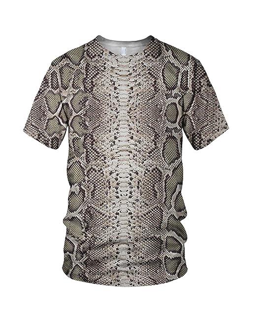 Piel De Hombre Serpiente Estampado Relacionados Entero Moda Camiseta uK1clTFJ35