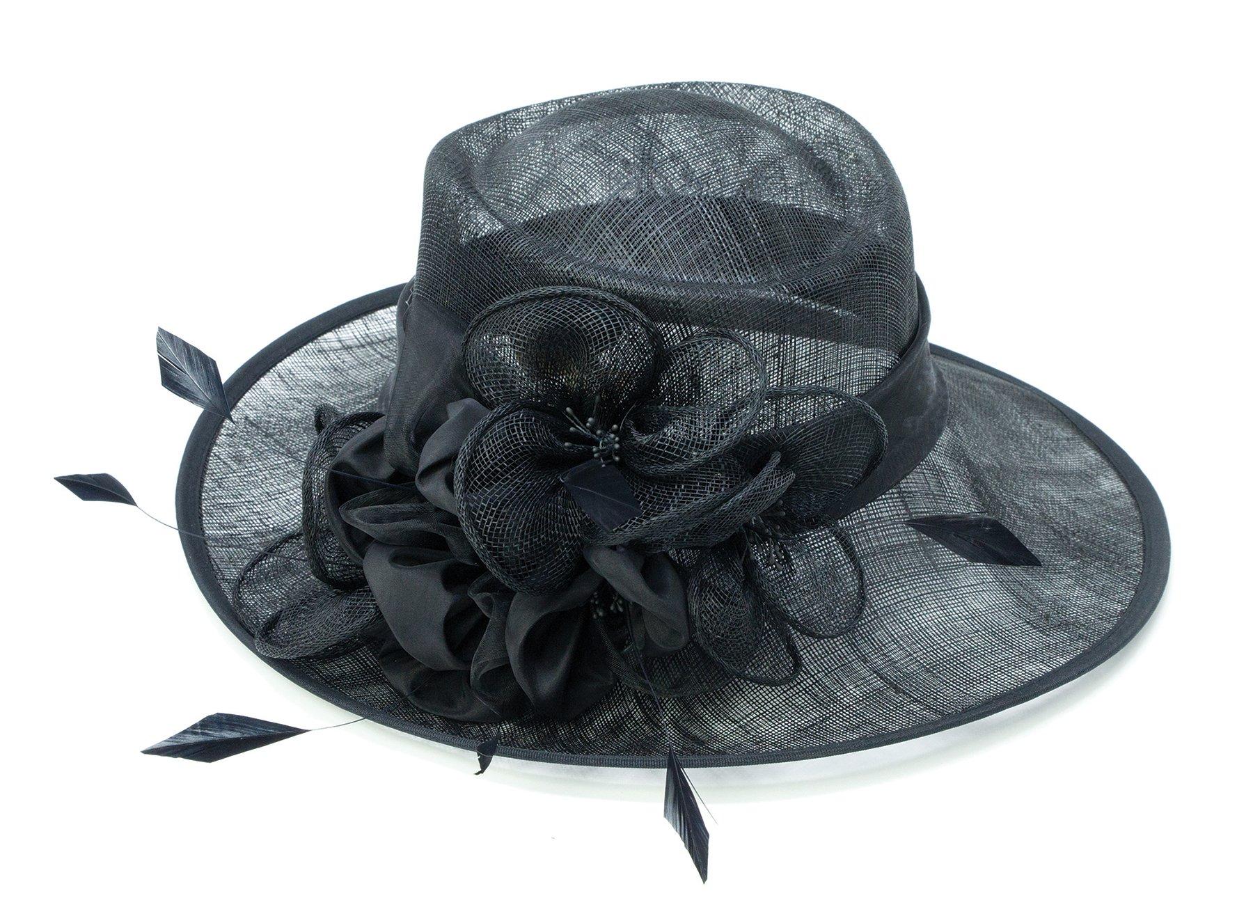 ChicHeadwear Womens Wide Brim Bow Sinamay Fashion Hat - Black