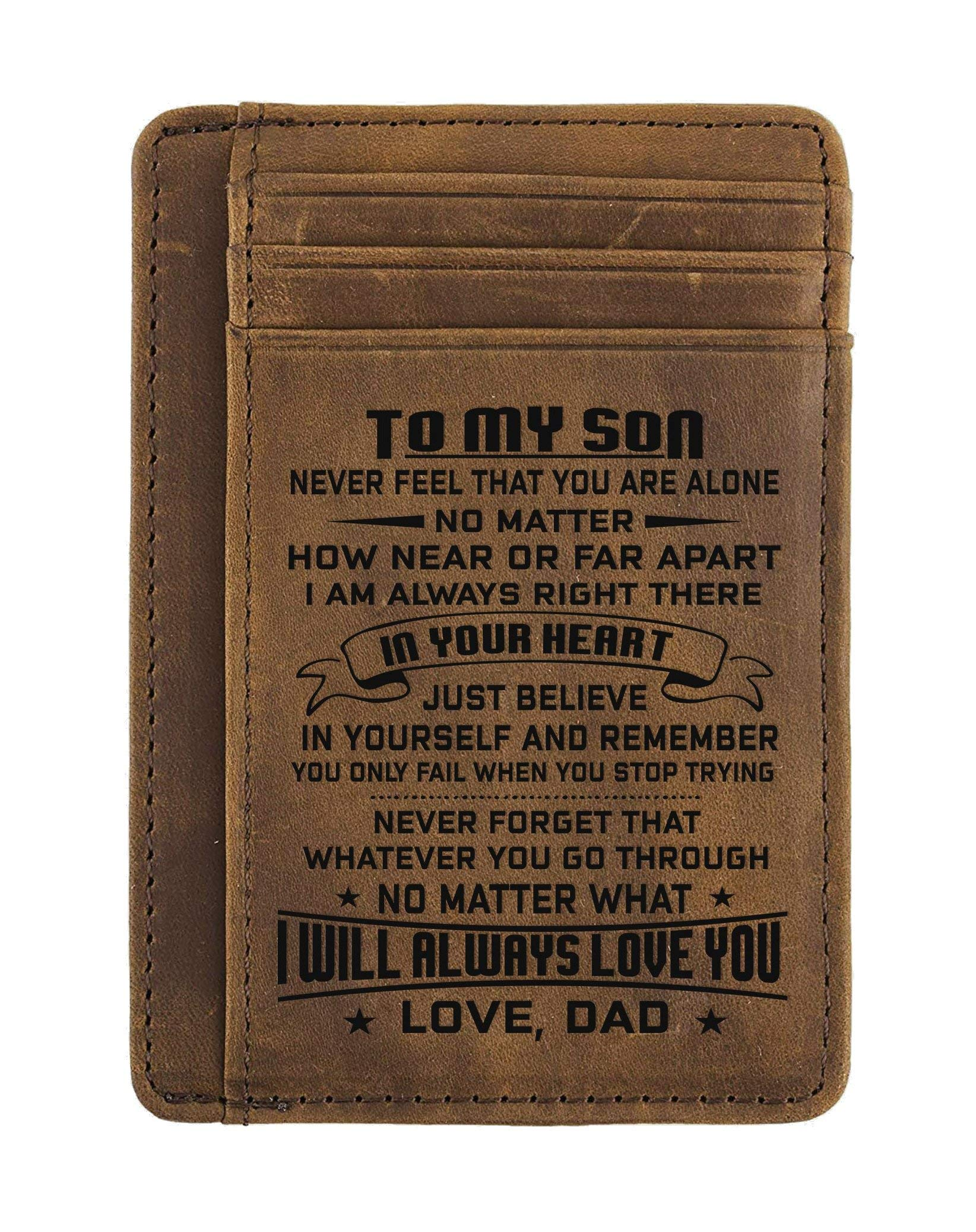 Engraved Leather Front Pocket Wallet (A - Son, dad will always love you) by DOPTIKA (Image #2)