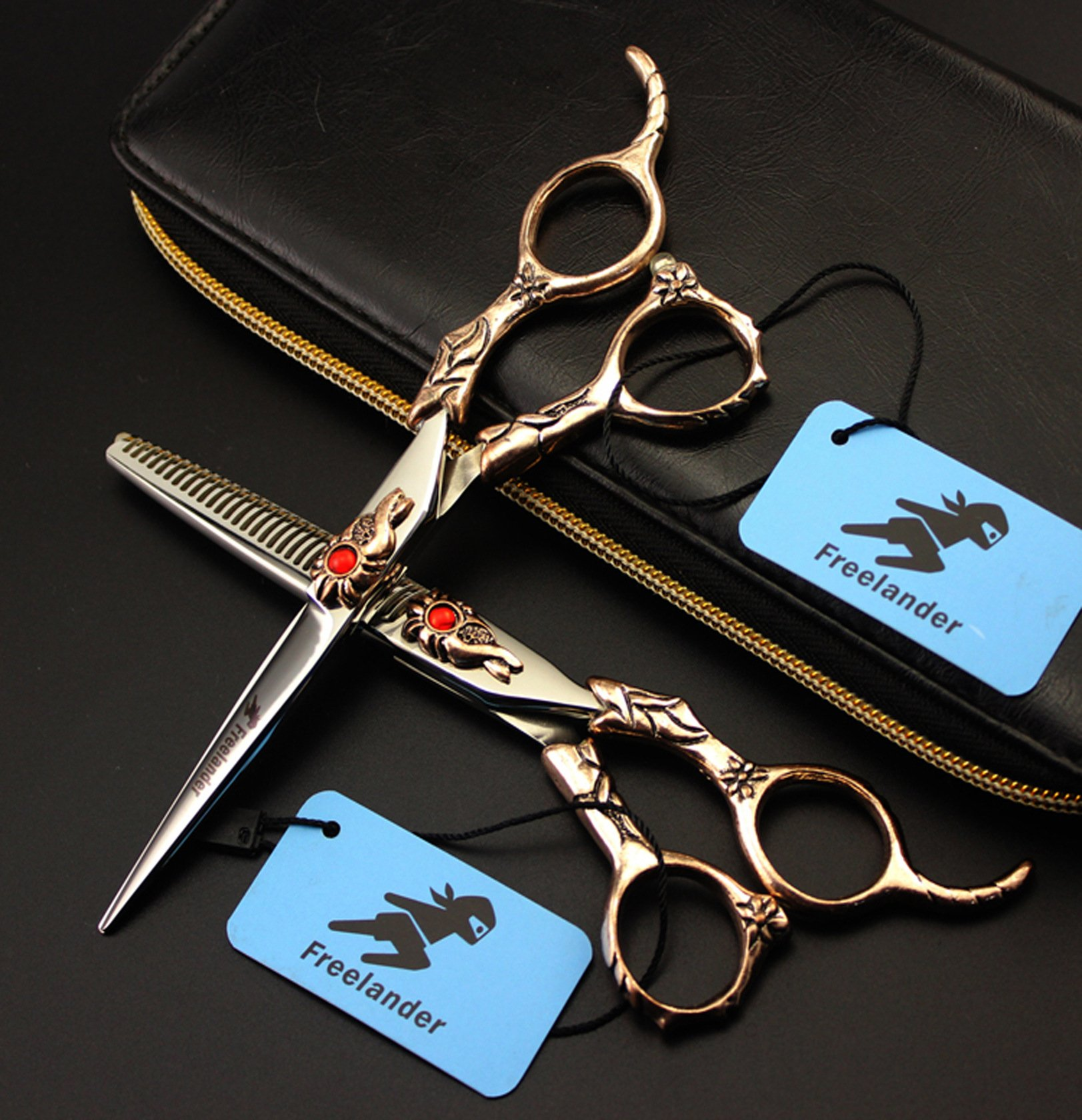 Professional Hair Cutting Scissors And Shears Barber Hairdressing Scissors Straight Vintage Design Red Rhinestone Men And Women Hair Cutting Tools Top 440C Steel