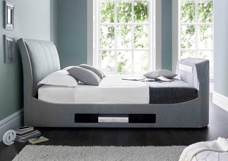 Amazon.de: Happy Beds Maximus Smoke Grau Stoff TV-Bett mit Sound Bar ...