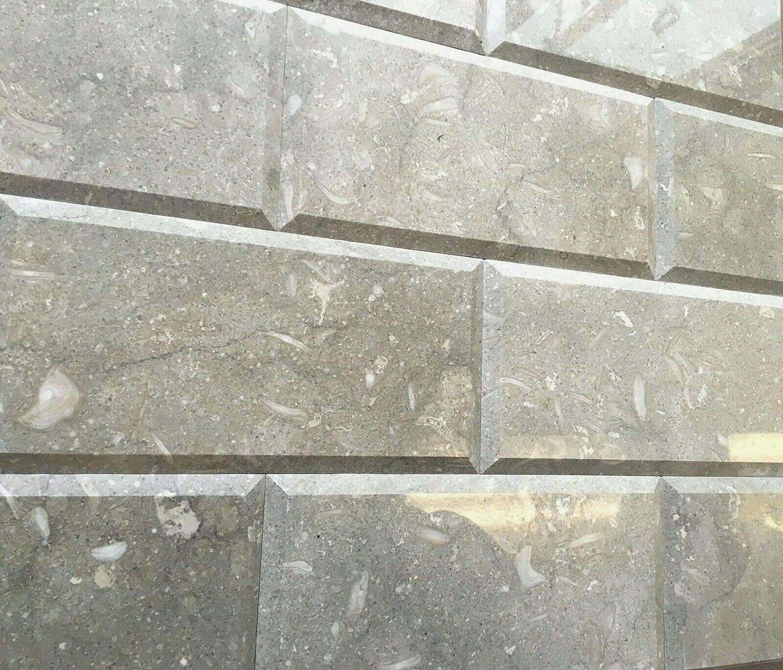 - 6x12 Beveled Polished Seagrass Subway Limestone Tile Wall