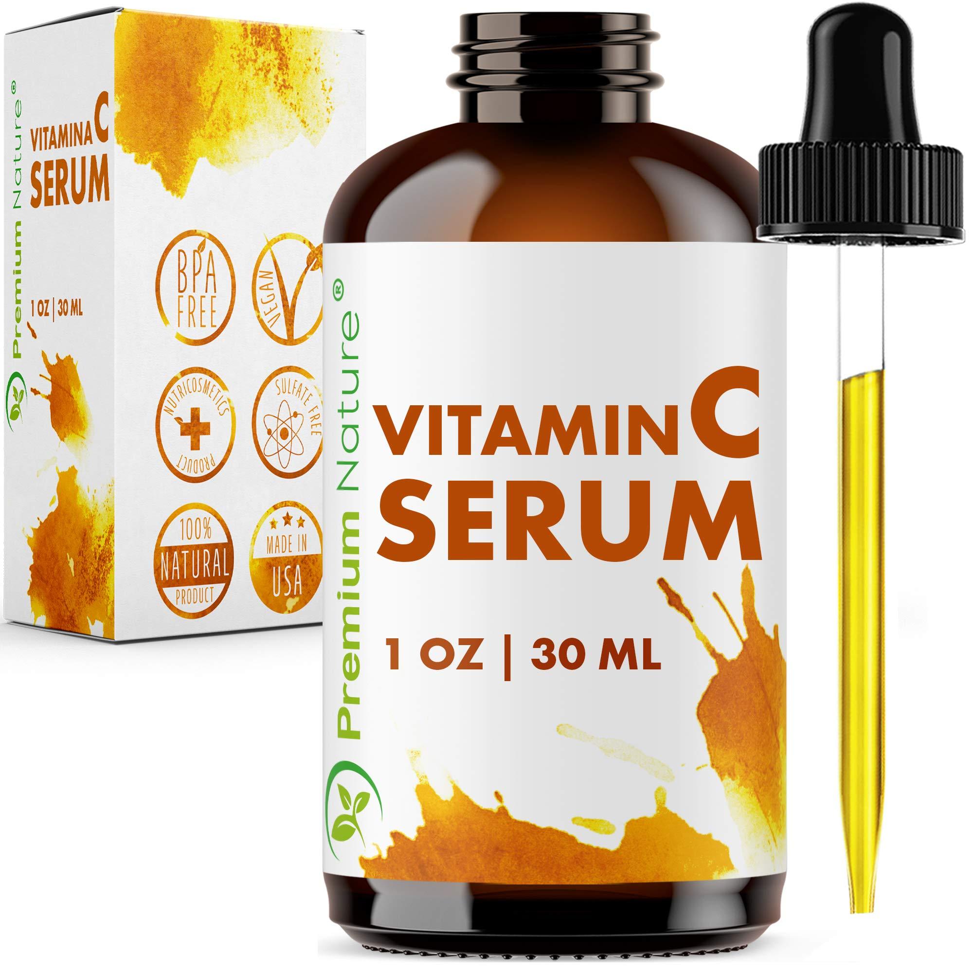 Vitamin C Serum Hyaluronic Acid - 20% Vit C Face Cream with pure Ingredients Facial Skin Serum Wrinkle & Sun Spot Hydrating Pore Minimizer Packaging May Vary