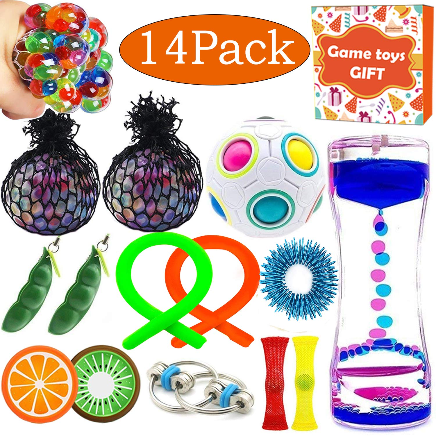 14 Pack Sensory Fidget Toys Bundle Liquid Motion Timer Bubbler Stretchy String Mesh Squeeze Balls Magic Cube Fruit Slime Stress Relieve Toys Halloween Party Favors for Kids Adult Autistic ADHD Anxiety