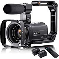 """4K Video Camera Camcorder with Microphone, VAFOTON 48MP Vlogging Camera for YouTube 16X Zoom 3.0"""" Touch Screen IR Night…"""
