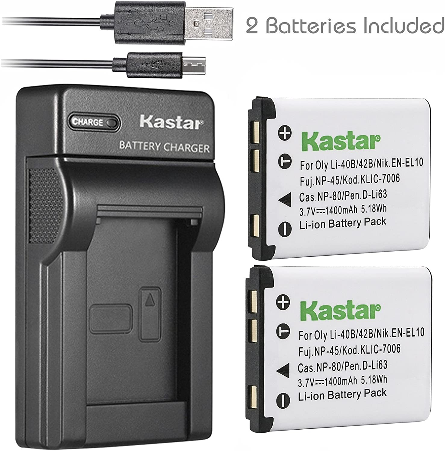 MH-63 Charger S230 S510 S220 S205 S4000 S80 S500 S210 S520 S200 Venwo 2 Pack EN-EL10 Battery and Micro USB Charger for Nikon Coolpix S60 S700 S600 S3000 S5100 Digital Cameras S570