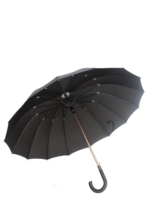 Parapluie long noir automatique Gentleman 16 baleines fibre de verre Susino